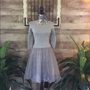 NWOT Esley (UO) Flared Out Silver Chiffon Dress